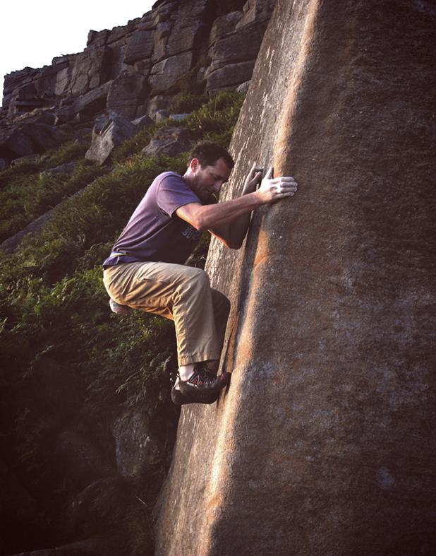 Chris Arnold making it stick on Crescent Arete